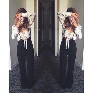 🆕 Black Shoulder Tie Wide Leg Jumpsuit